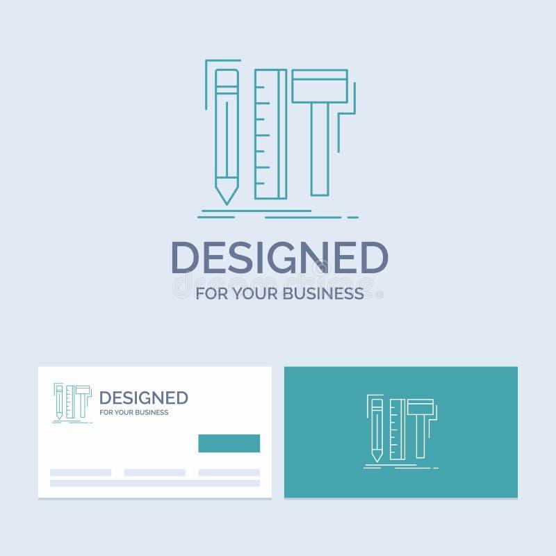 Projekt, projektant, cyfrowy, narzędzia, ołówkowy Biznesowy logo linii ikony symbol dla twój biznesu Turkusowe wizyt?wki z gatunk ilustracja wektor