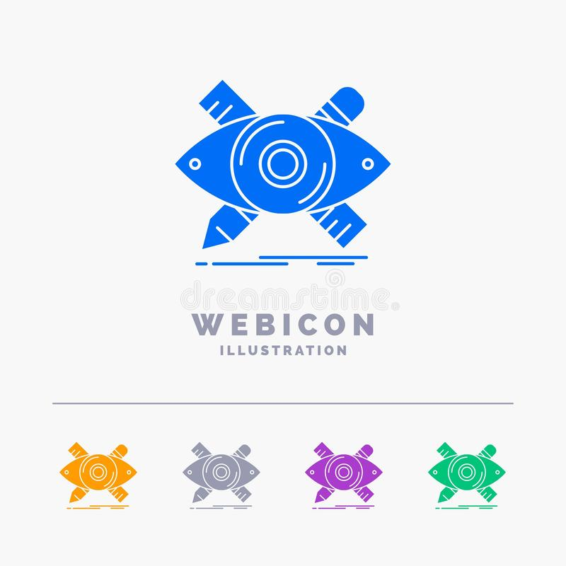 projekt, projektant, ilustracja, nakreślenie, narzędzia 5 Barwi glif sieci ikony szablon odizolowywającego na bielu r?wnie? zwr?c ilustracja wektor