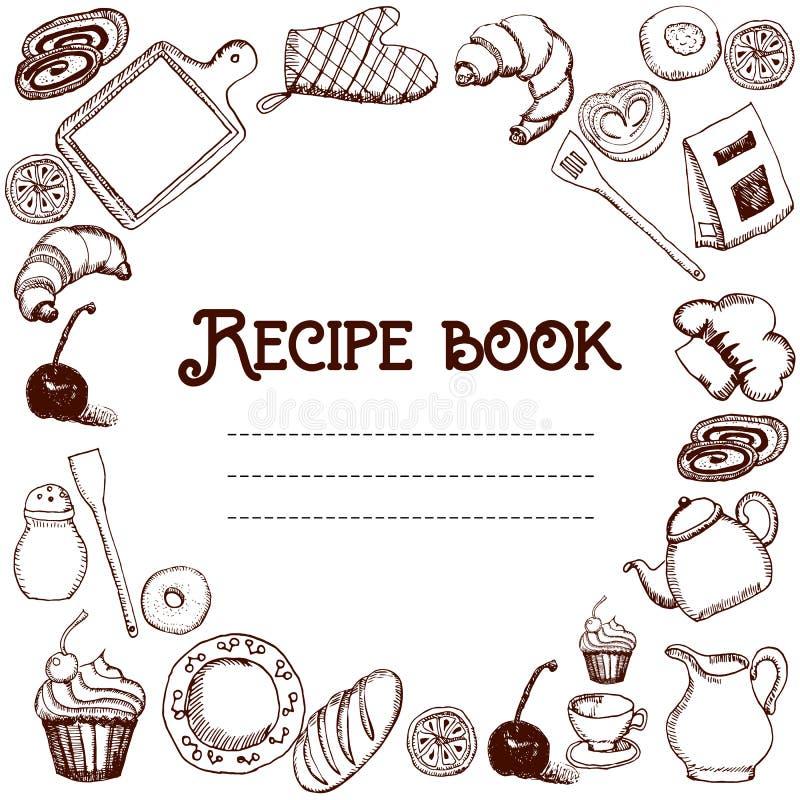 Projekt przepis książka Ręka rysująca doodles przedmioty jedzenie i naczynia cookbook royalty ilustracja