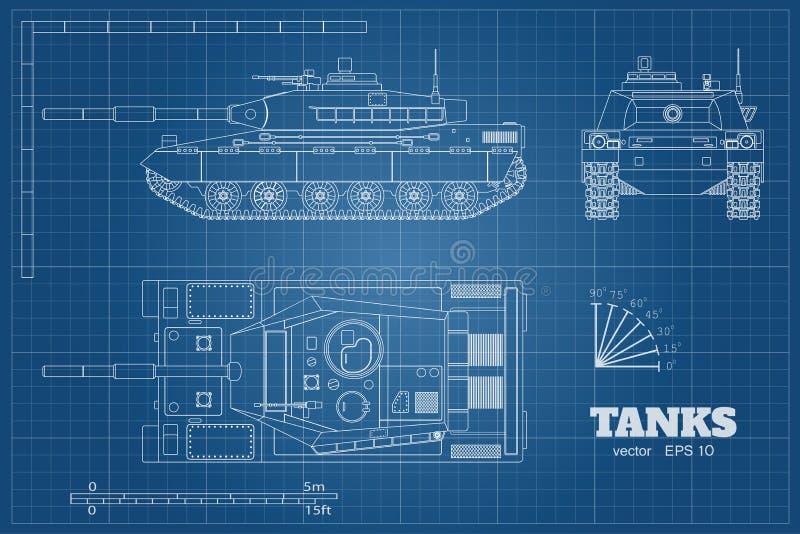 Projekt realistyczny zbiornik Wierzchołka, frontowego i bocznego widok, Szczegółowy opancerzony samochód Wojenny pojazd w konturu royalty ilustracja