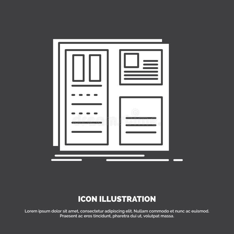 Projekt, siatka, interfejs, uk?ad, ui ikona glifu wektorowy symbol dla UI, UX, strona internetowa i wisz?cej ozdoby zastosowanie, ilustracji
