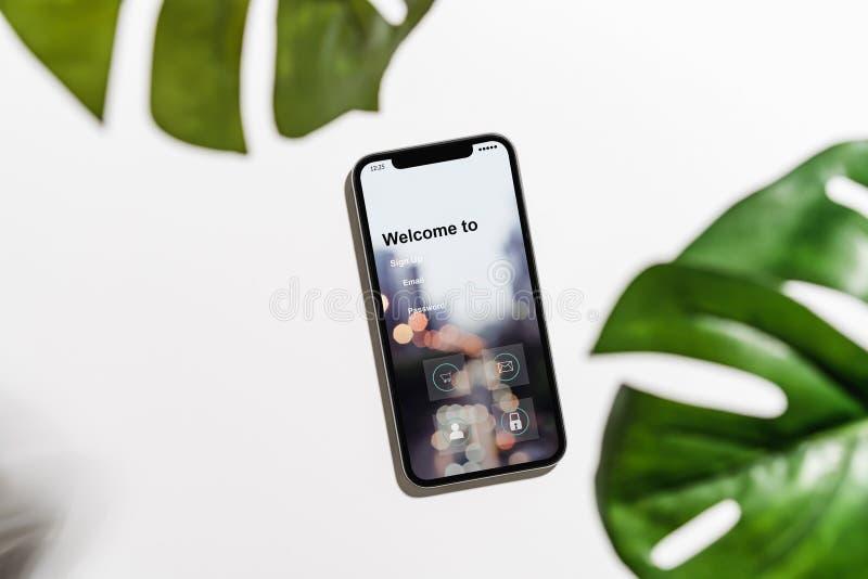 Projekt smartphone ekran, zastosowanie dostęp, nazwa użytkownika, Nowożytni pojęcia zdjęcia royalty free