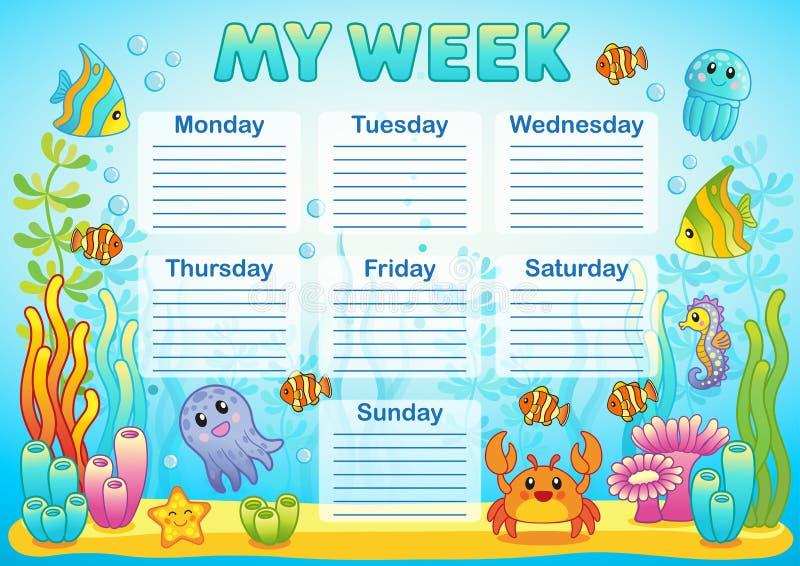 Projekt szkolny rozkład zajęć dla dzieciaków Jaskrawy podwodny tło dla planowania szkolny tydzień ilustracji