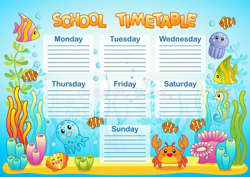 Projekt szkolny rozkład zajęć dla dzieciaków Jaskrawy podwodny tło dla planowania szkolny tydzień royalty ilustracja