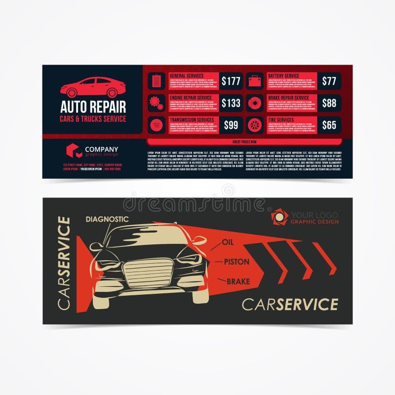 Projekt sztandary Set Auto naprawy samochody & ciężarówki Usługujemy układ, samochody dla sprzedaży & czynsz broszurkę, mockup ul royalty ilustracja