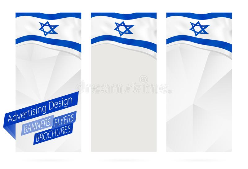 Projekt sztandary, ulotki, broszurki z flagą Izrael royalty ilustracja