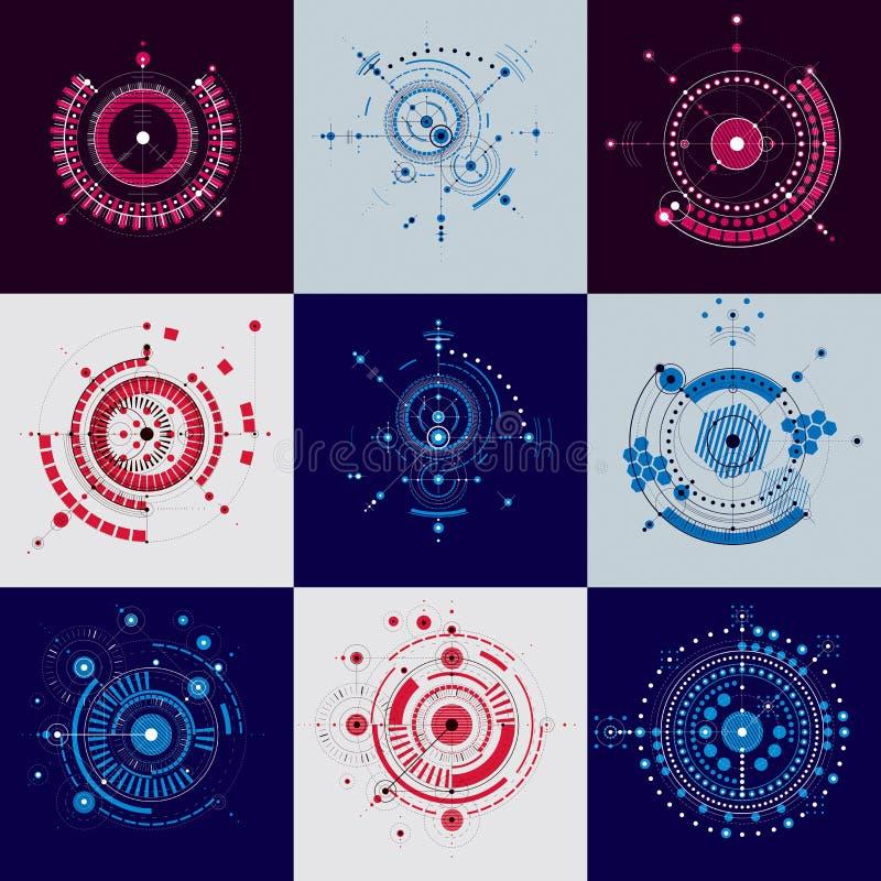 projekt techniczny Set wektorowi cyfrowi tła z geom ilustracja wektor