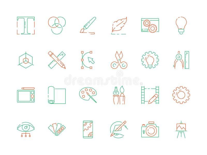 Projekt?w narz?dzi ikona Kod sieci projektów artysty rzeczy interneta programowania poligrafii wektoru cienkie ikony ilustracja wektor
