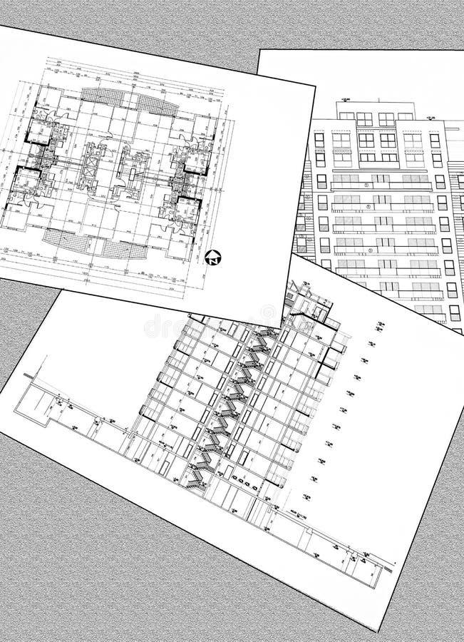 Projekt?w rysunki mieszkaniowy dom - plan, sekcja, fasada zdjęcie royalty free