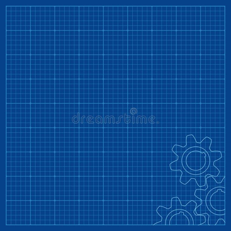 Projekt wykładający papier dla technicznych rysunków Z przekładni kół symbolami w kącie ilustracji