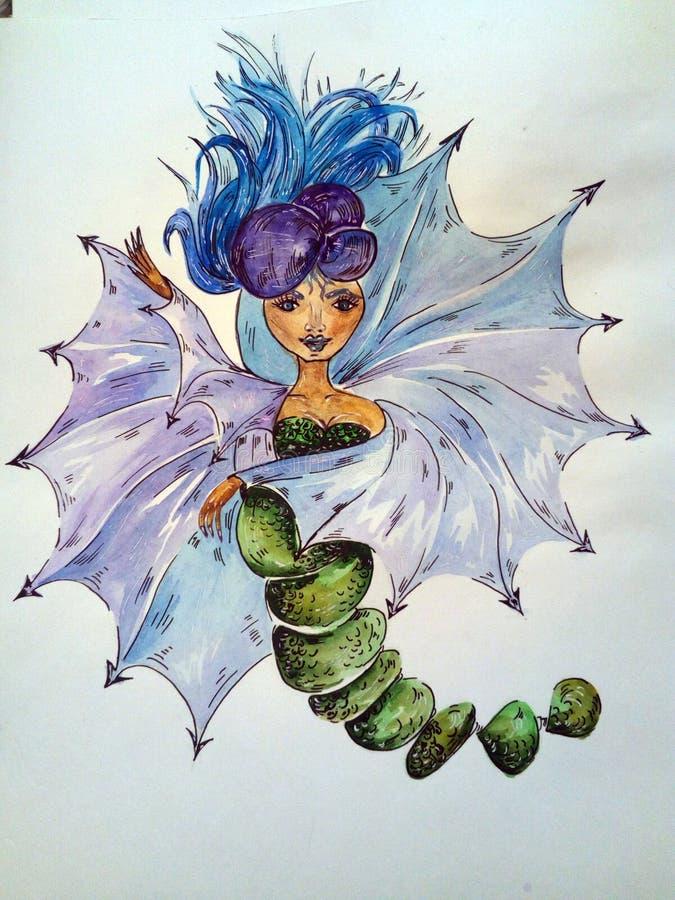 projekt, zieleń, kolor, liść, błękit, natura, dekoracja, wzór, kwiaty, kobieta royalty ilustracja