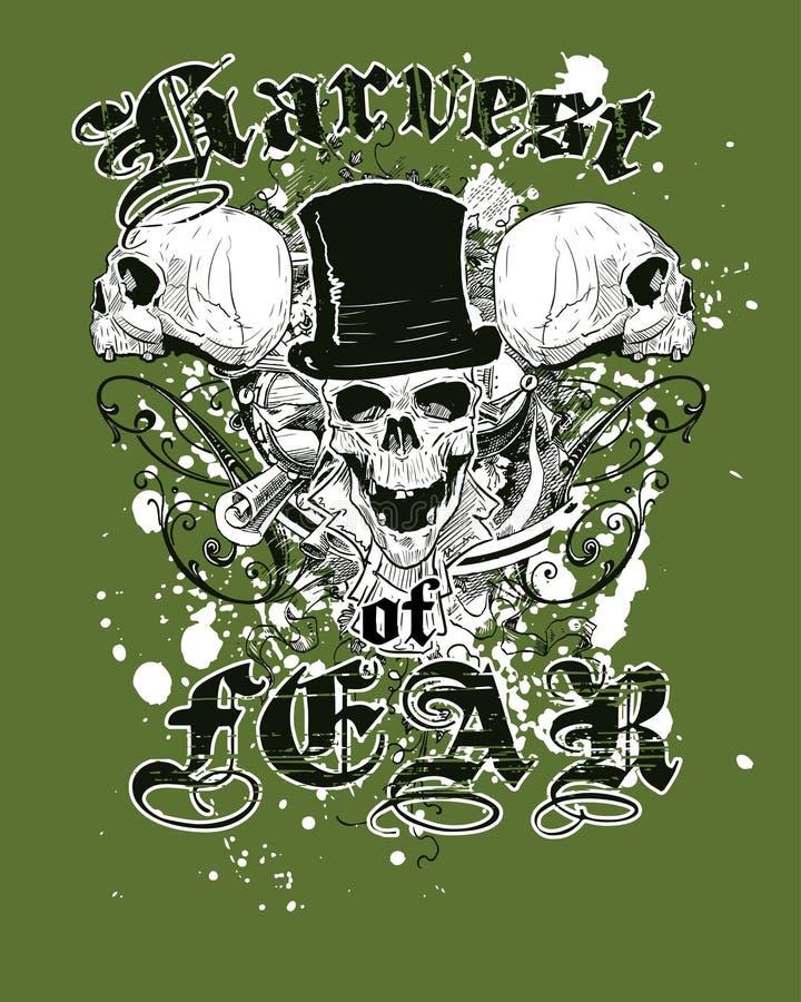 projekt zielone koszulowe czaszki t royalty ilustracja