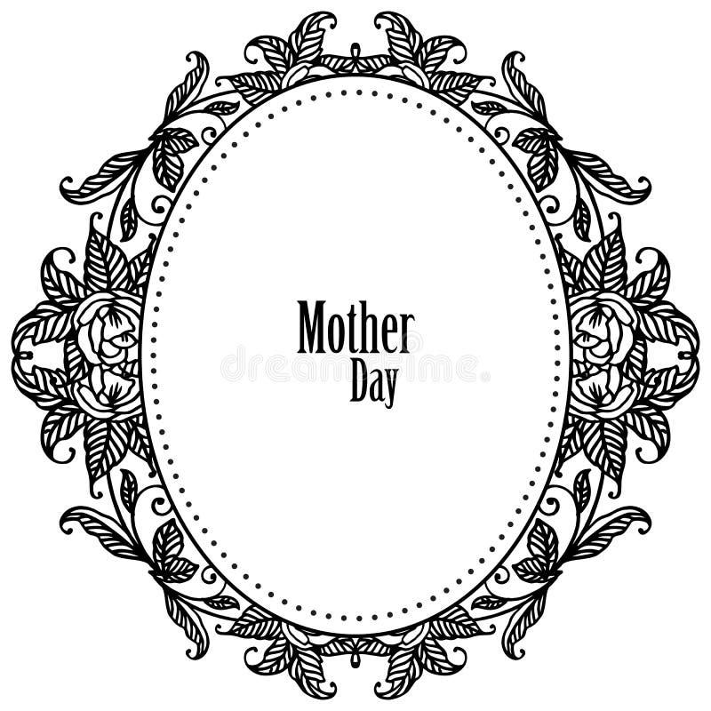 Projekta świętowania karty macierzysty dzień z tapetą śliczna kwiat rama, wektor ilustracji