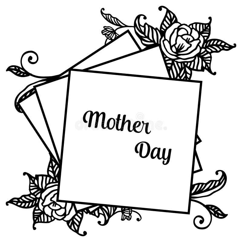 Projekta świętowania karty macierzysty dzień z tapetą śliczna kwiat rama, wektor ilustracja wektor