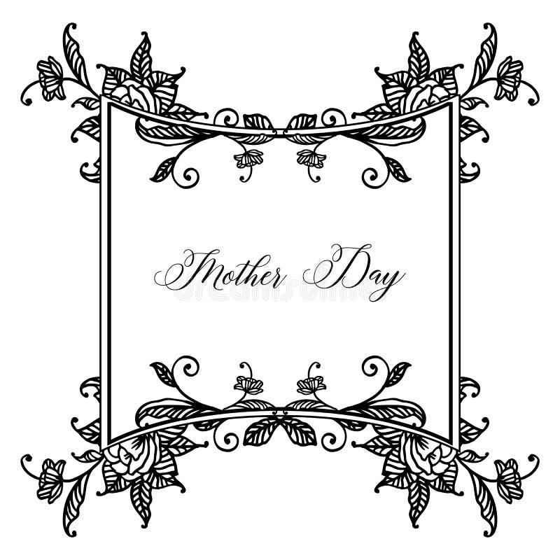 Projekta świętowania karty macierzysty dzień z tapetą śliczna kwiat rama, wektor royalty ilustracja