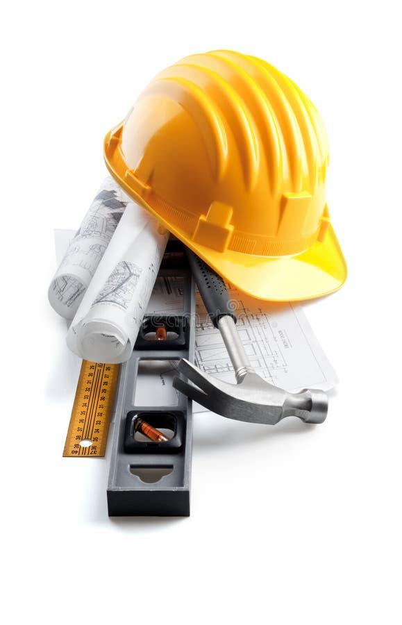 projekta ciężkiego kapeluszu odosobniony narzędzi whit zdjęcie royalty free