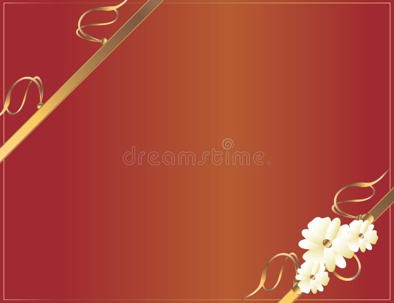 projekta diagonalna kwiatu złota czerwień ilustracja wektor