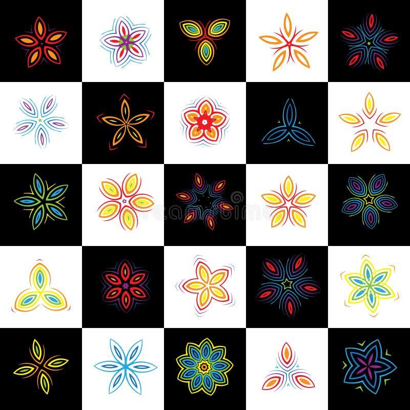 projekta elementów kwiaty ustawiający ilustracja wektor