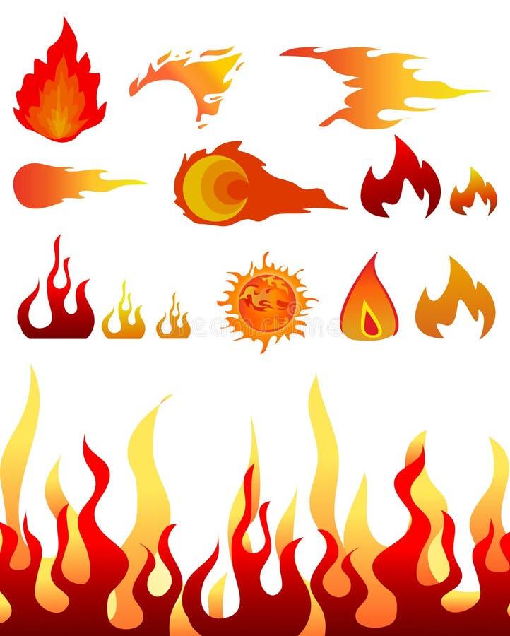 projekta elementów pożarniczy płomienie royalty ilustracja