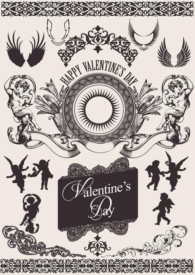 projekta elementów s ustalony valentine wektor ilustracja wektor