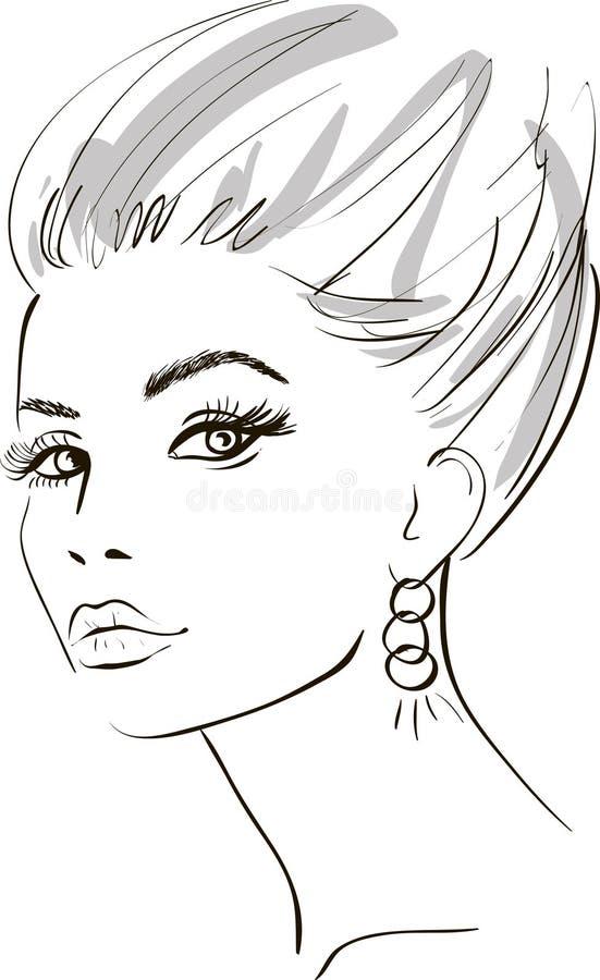 projekta elementów twarzy dziewczyny ilustraci wektor royalty ilustracja