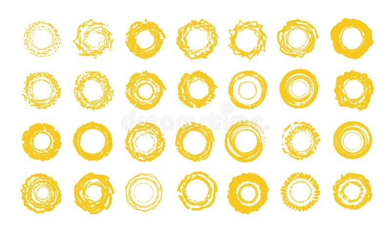projekta element?w ikony ustawiaj? s?o?ce wektor Pogodna lato logo szablonu kolekcja Ręka rysunku styl, grunge koloru żółtego ksz royalty ilustracja