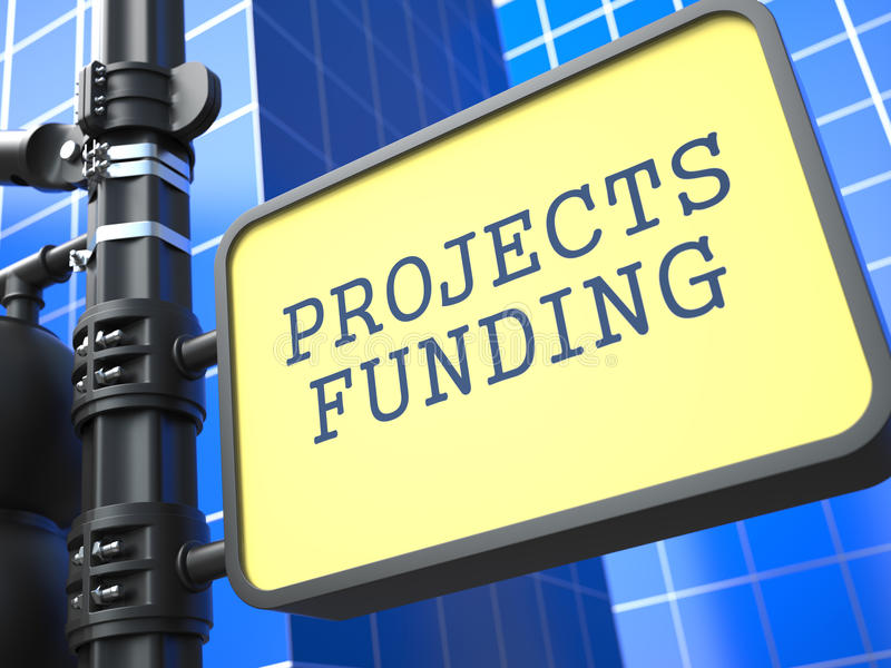 Projekta finansowanie Kierunkowskaz na Błękitnym tle ilustracji