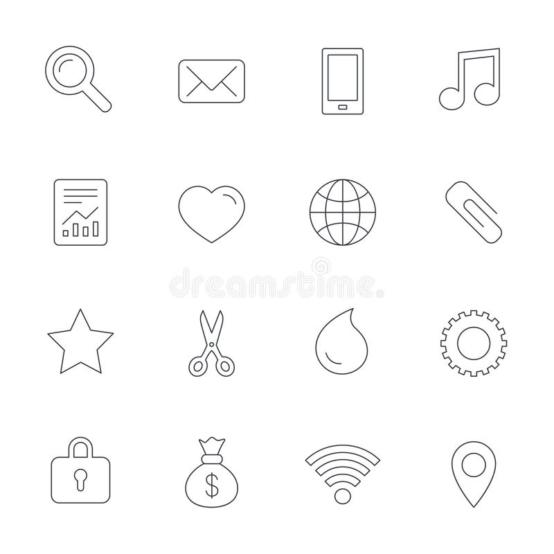projekta ikon ilustracyjna cecha ogólna ty Smartphone, poczta i muzyka, ilustracji