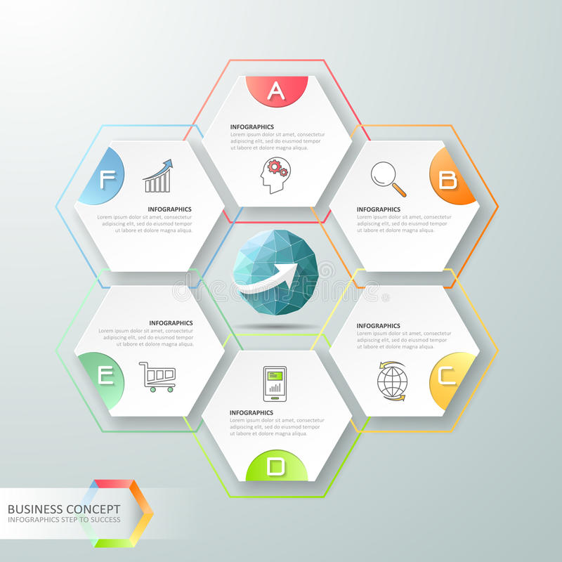Projekta infographics 6 kroków Infographic szablon dla biznesowego pojęcia ilustracji