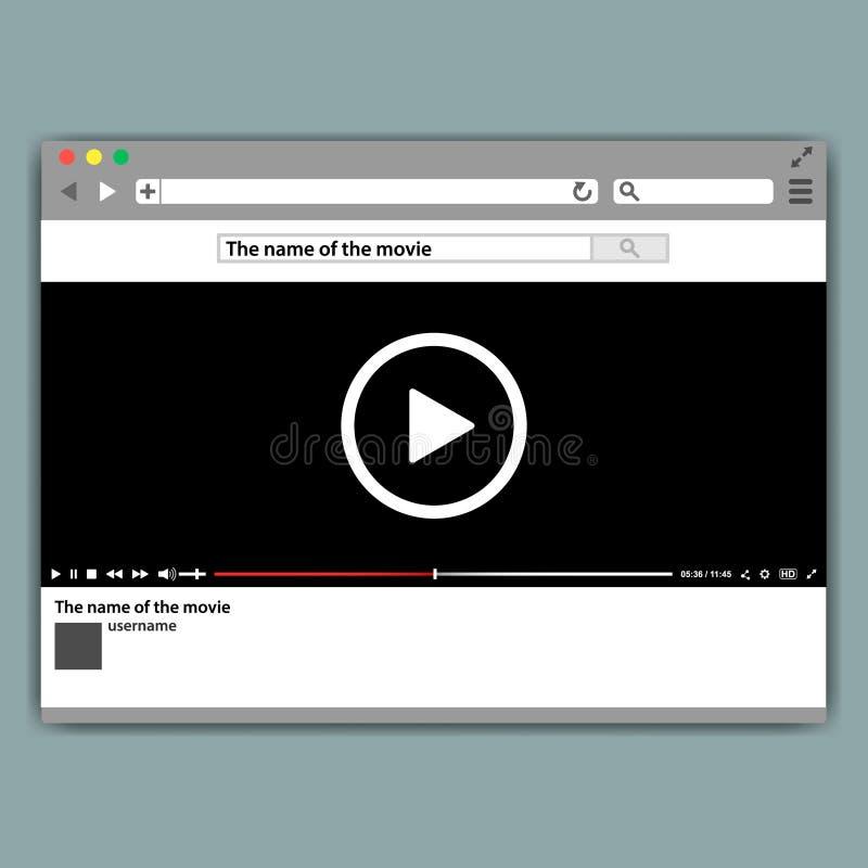 Projekta interneta wyszukiwarki odtwarzacz wideo szablon Nowożytna wideo rama Odtwarzacz wideo interfejsu mokup lub UI dla sieci royalty ilustracja