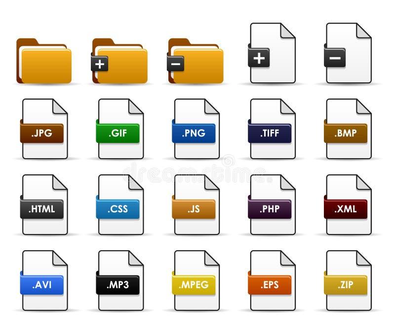 projekta kartoteki falcówki ikony sieć ilustracja wektor