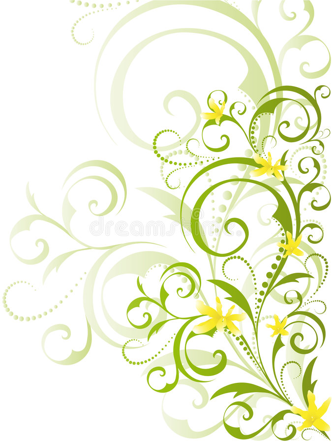 projekta kwiecistych kwiatów zielony kolor żółty ilustracja wektor