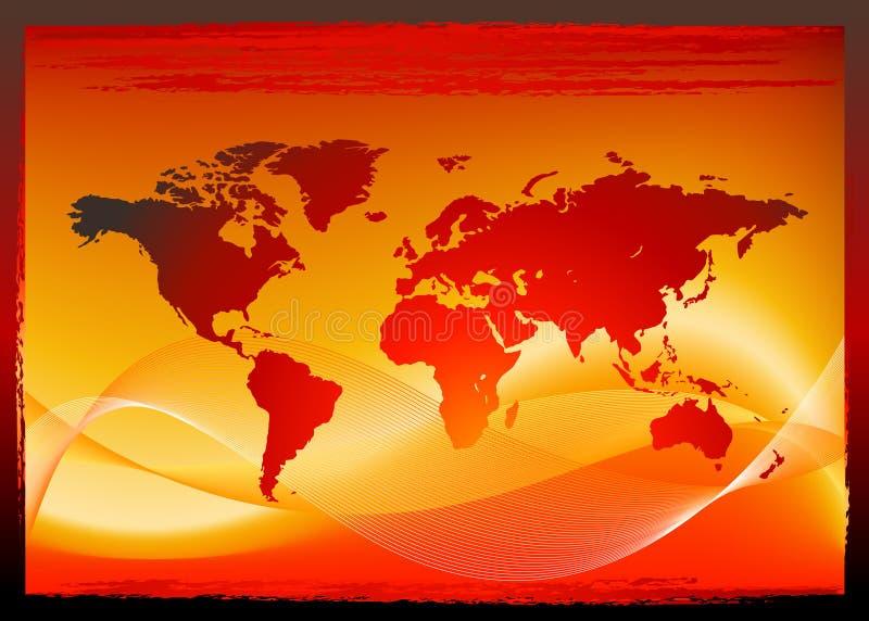 projekta mapy czerwieni świat ilustracji