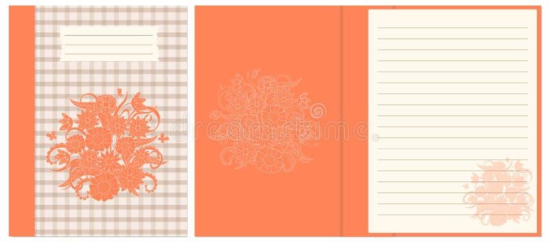 Projekta notatnik z pomarańczowego boho kwiecistym składem royalty ilustracja