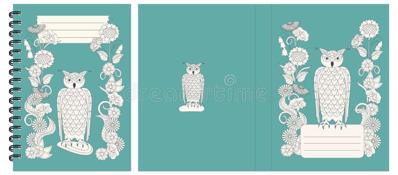 Projekta notatnik z sową i kwiatami ilustracji