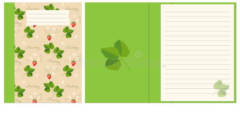 Projekta notatnik z truskawkowym boho wzorem royalty ilustracja
