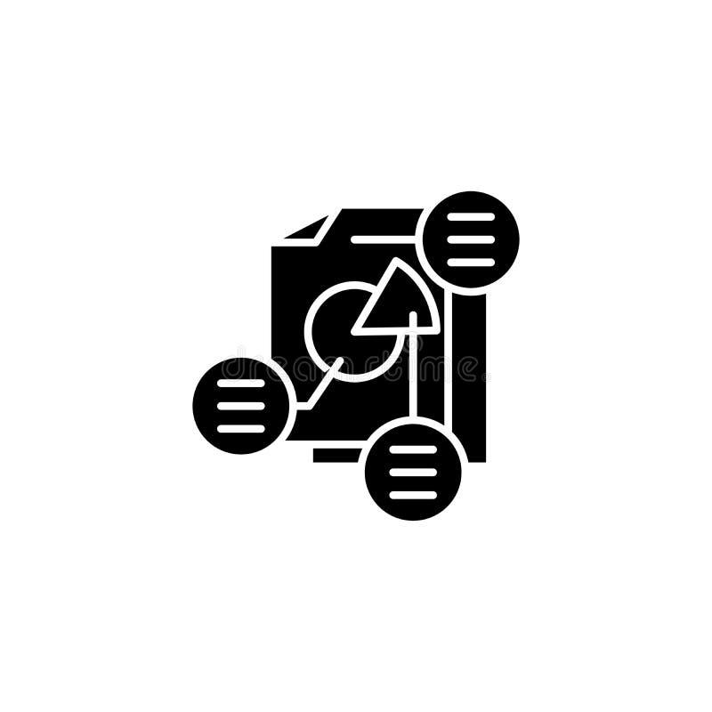 Projekta opisu czerni ikony pojęcie Projekta opisu płaski wektorowy symbol, znak, ilustracja ilustracji