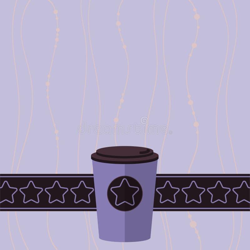 Projekta pojęcia kopii biznesowej Pustej przestrzeni tła 3D nowożytna abstrakcjonistyczna kawa Iść filiżanka z dekiel gwiazdami i ilustracja wektor