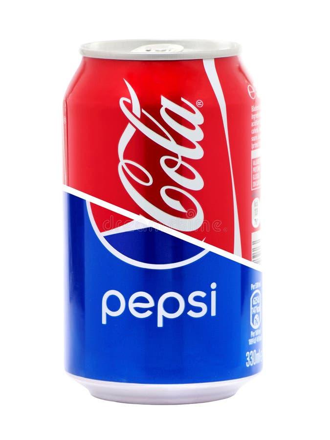 Projekta pojęcie koka-koli i Pepsi puszki obrazy royalty free