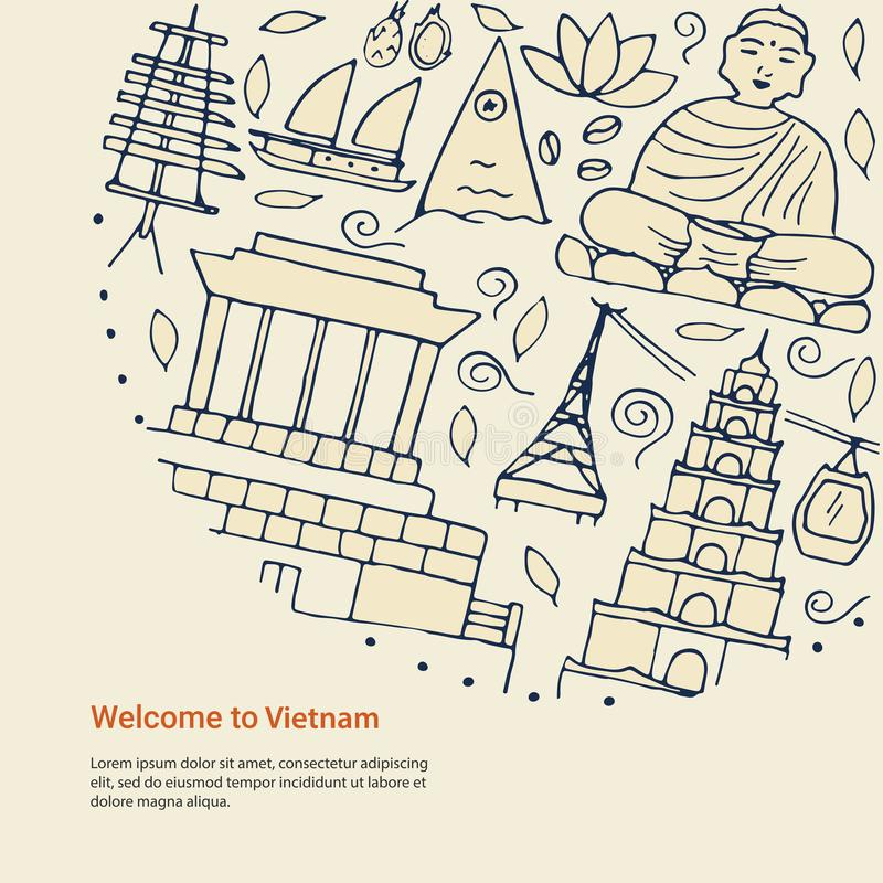 Projekta pojęcie z symbolami Wietnam i prosty tekst ilustracja wektor