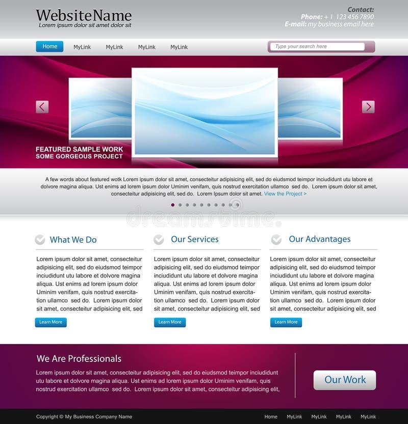 projekta purpurowa szablonu strona internetowa ilustracja wektor