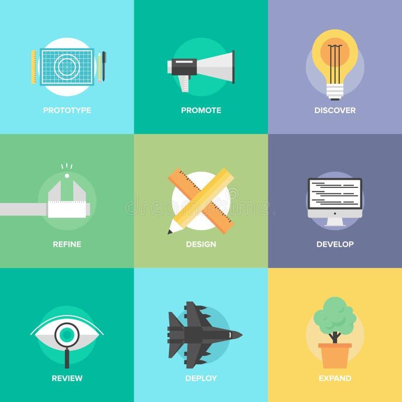 Projekta rozwoju produktu mieszkania ikony ilustracji