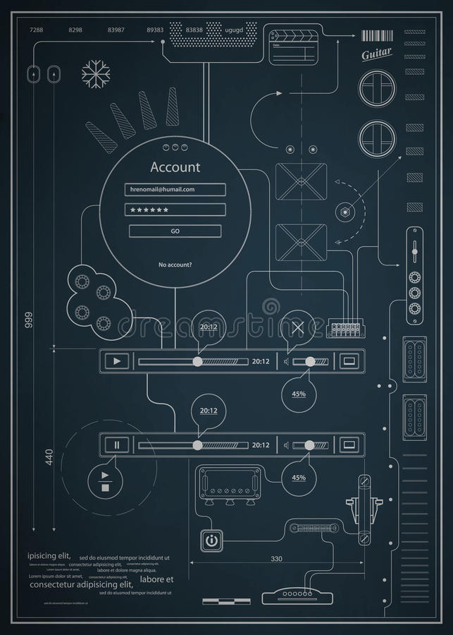 projekta rysunkowy infographics schematic royalty ilustracja