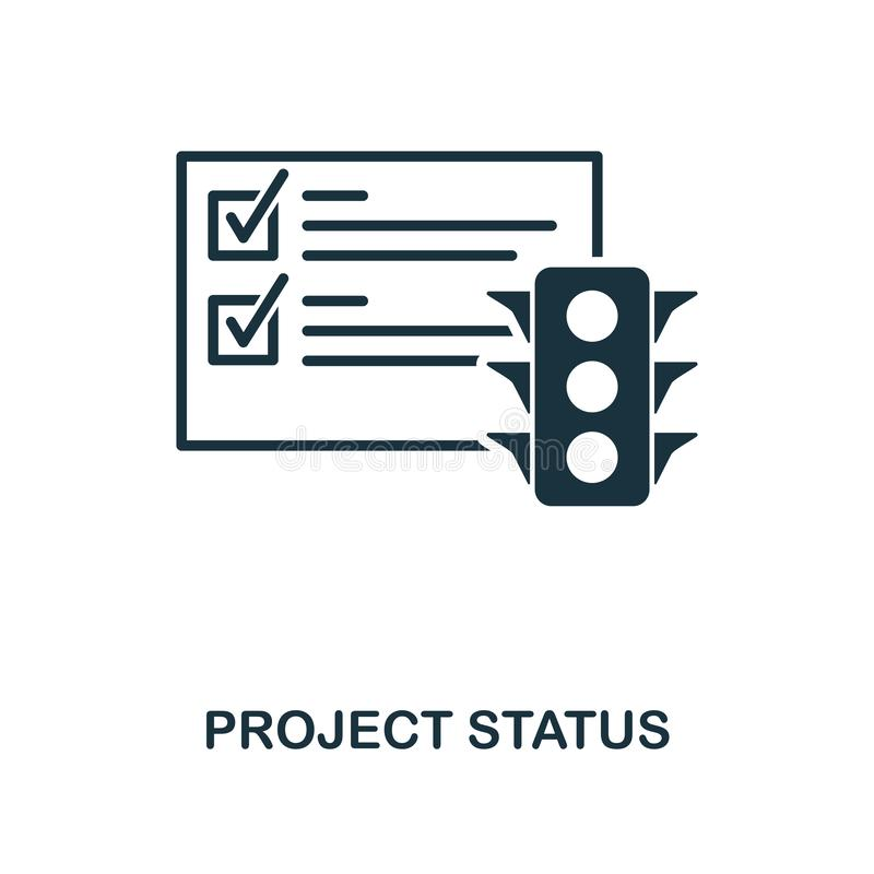 Projekta statusu ikona Monochromu stylu projekt od zarządzanie ikony kolekcji Ui Piksel doskonalić prosty piktograma projekta sta royalty ilustracja