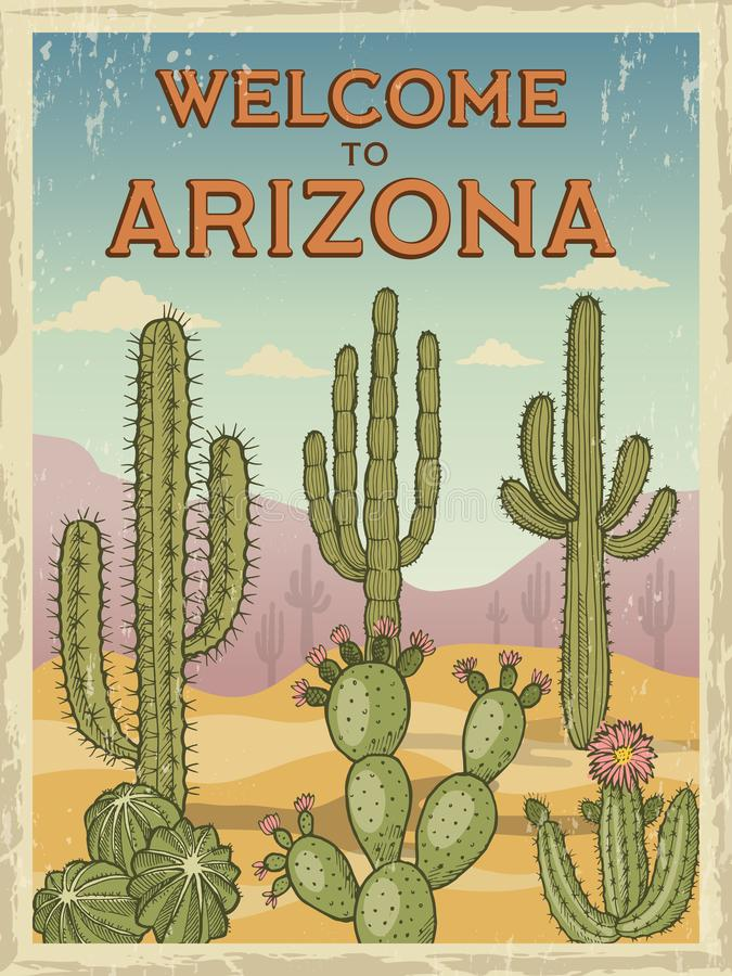 Projekta szablon retro plakata powitanie Arizona Ilustracje dzicy kaktusy royalty ilustracja