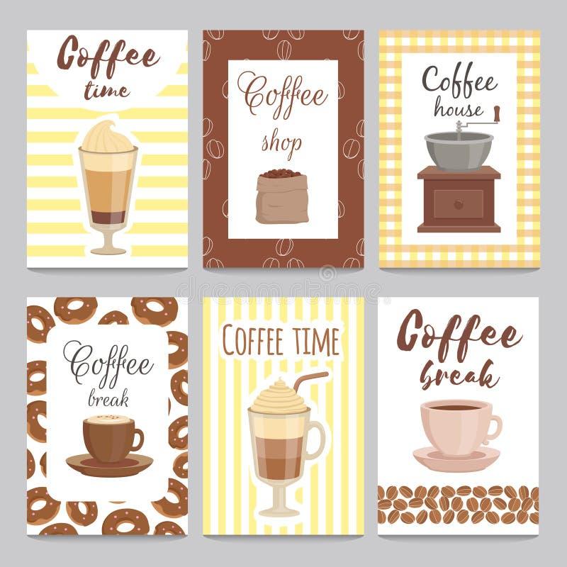 Projekta szablon rocznik karty dla sklep z kawą ilustracji