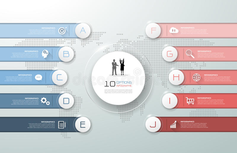 Projekta szablonu 10 infographic opcje, ilustracja wektor
