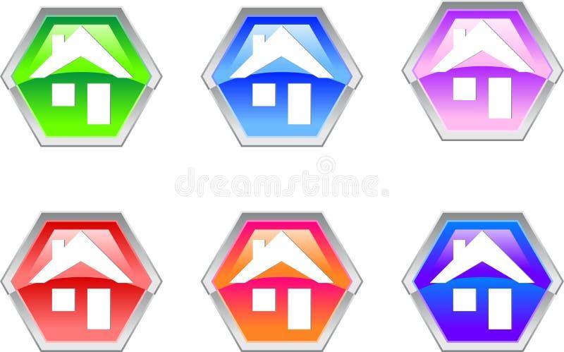 projekta sześciokąta domu ikony logo royalty ilustracja