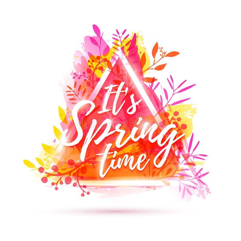 Projekta sztandar ja ` s wiosny czas Ulotka dla wiosna sezonu z trójboka ziele i ramą Plakat z menchia kwiatu decoratio royalty ilustracja