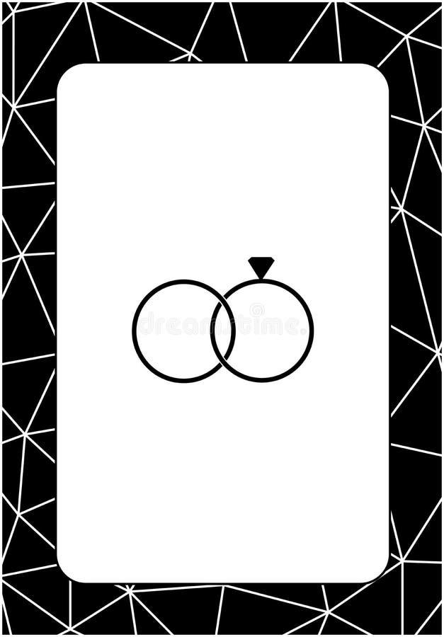 Projekta układu szablony dla ślubnej karty z pierścionkami ilustracji